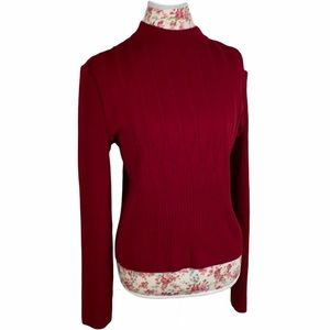 St. John Red High Neck Sweaters